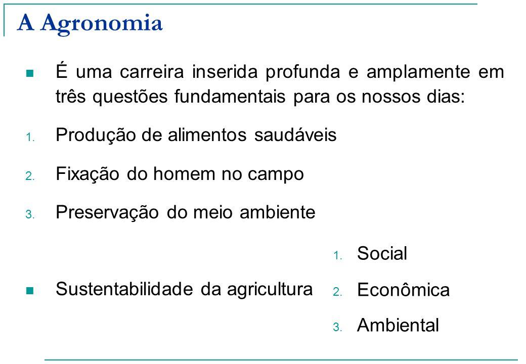A Agronomia É uma carreira inserida profunda e amplamente em três questões fundamentais para os nossos dias: