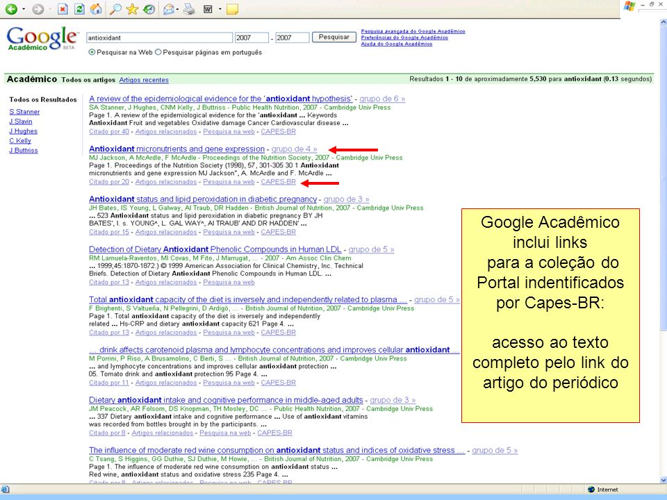Google Acadêmico inclui links