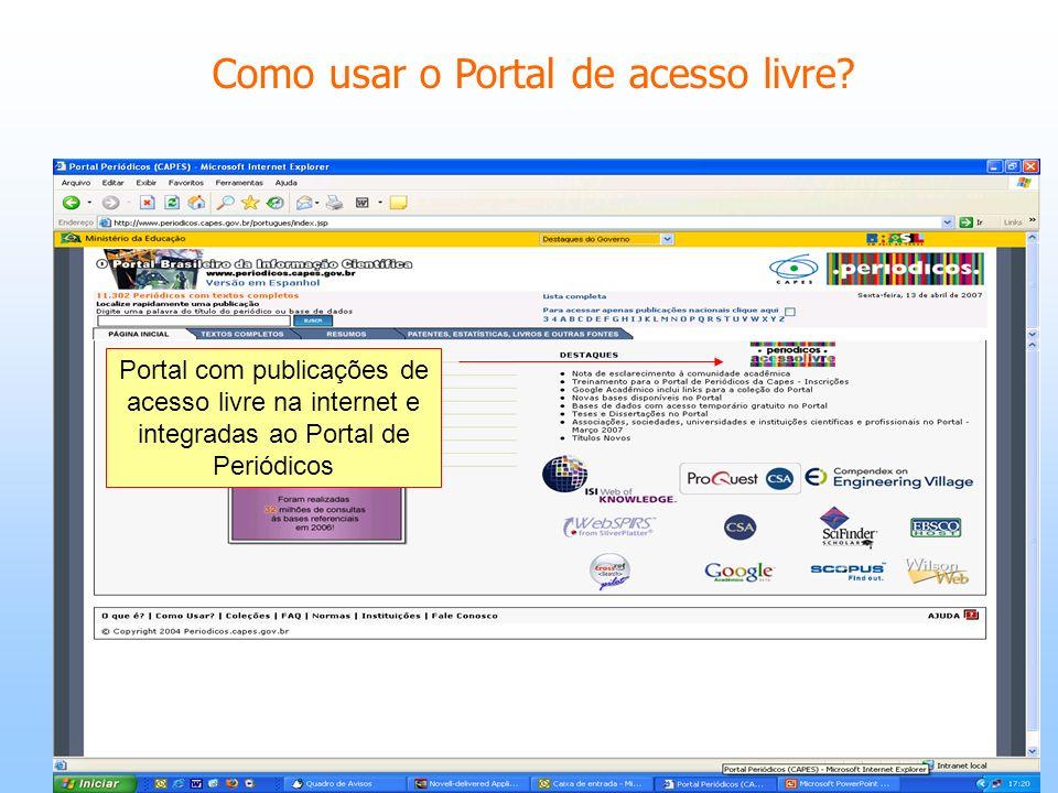 Como usar o Portal de acesso livre