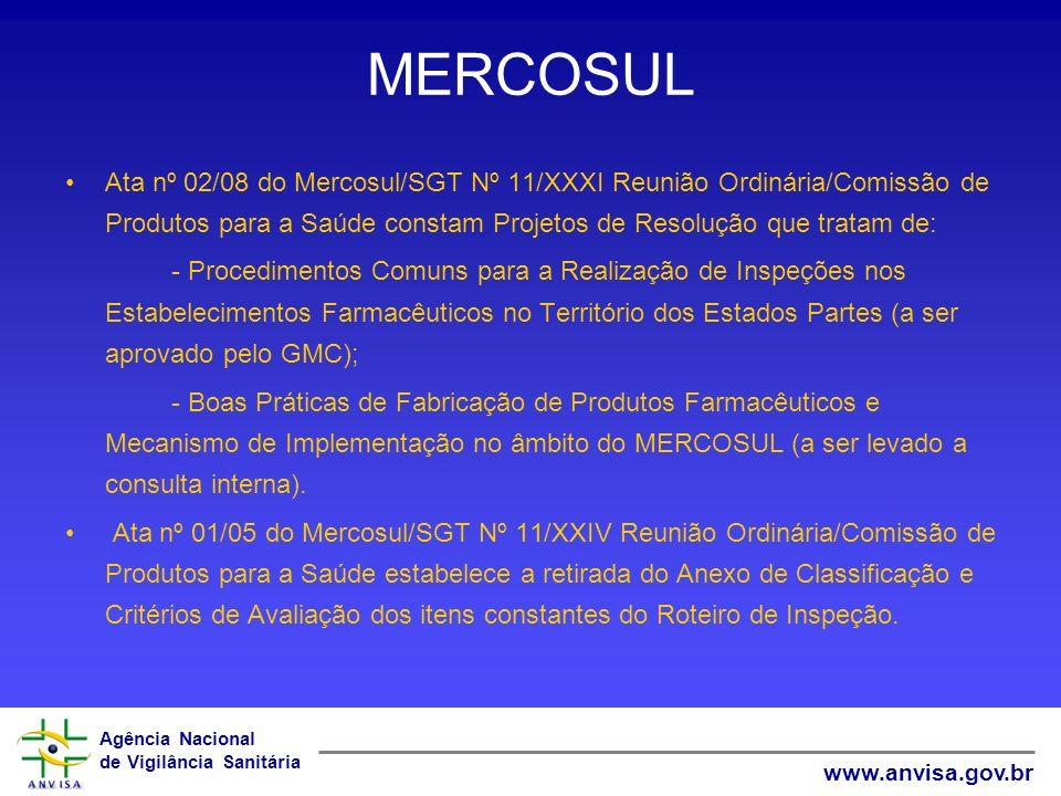 MERCOSUL Ata nº 02/08 do Mercosul/SGT Nº 11/XXXI Reunião Ordinária/Comissão de Produtos para a Saúde constam Projetos de Resolução que tratam de: