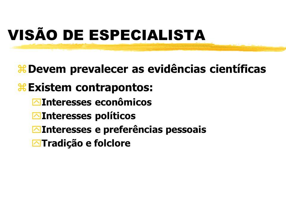VISÃO DE ESPECIALISTA Devem prevalecer as evidências científicas