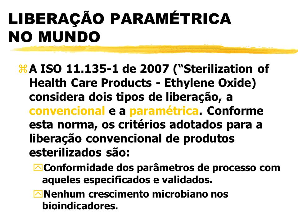 LIBERAÇÃO PARAMÉTRICA NO MUNDO