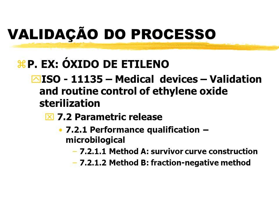 VALIDAÇÃO DO PROCESSO P. EX: ÓXIDO DE ETILENO