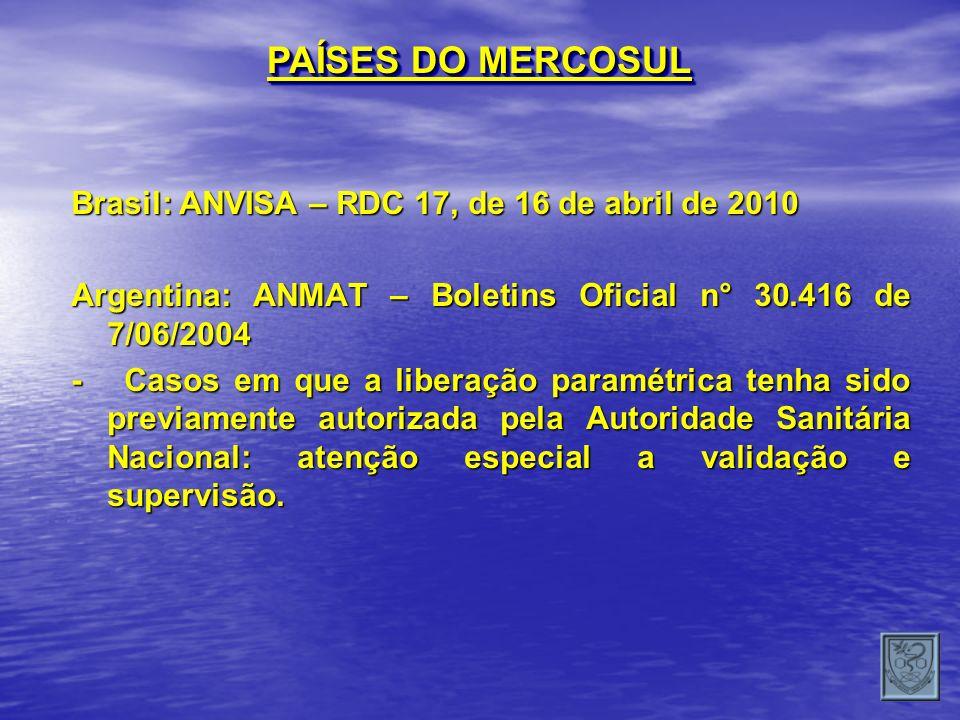 PAÍSES DO MERCOSUL Brasil: ANVISA – RDC 17, de 16 de abril de 2010