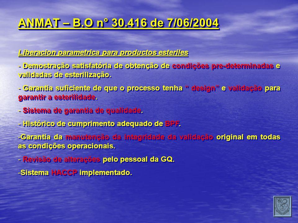 ANMAT – B.O n° 30.416 de 7/06/2004 Liberacion parametrica para productos esteriles.