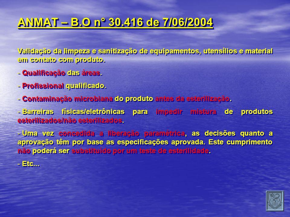 ANMAT – B.O n° 30.416 de 7/06/2004Validação da limpeza e sanitização de equipamentos, utensílios e material em contato com produto.