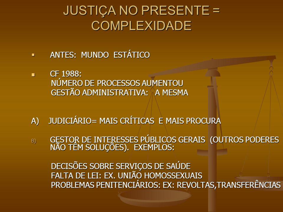 JUSTIÇA NO PRESENTE = COMPLEXIDADE