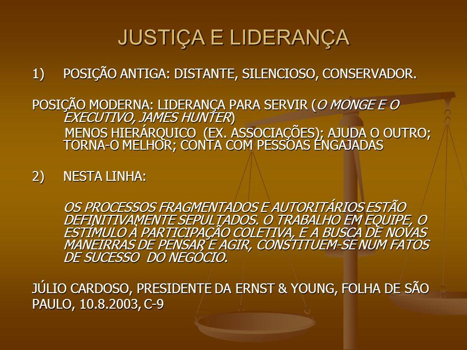 JUSTIÇA E LIDERANÇA 1) POSIÇÃO ANTIGA: DISTANTE, SILENCIOSO, CONSERVADOR.