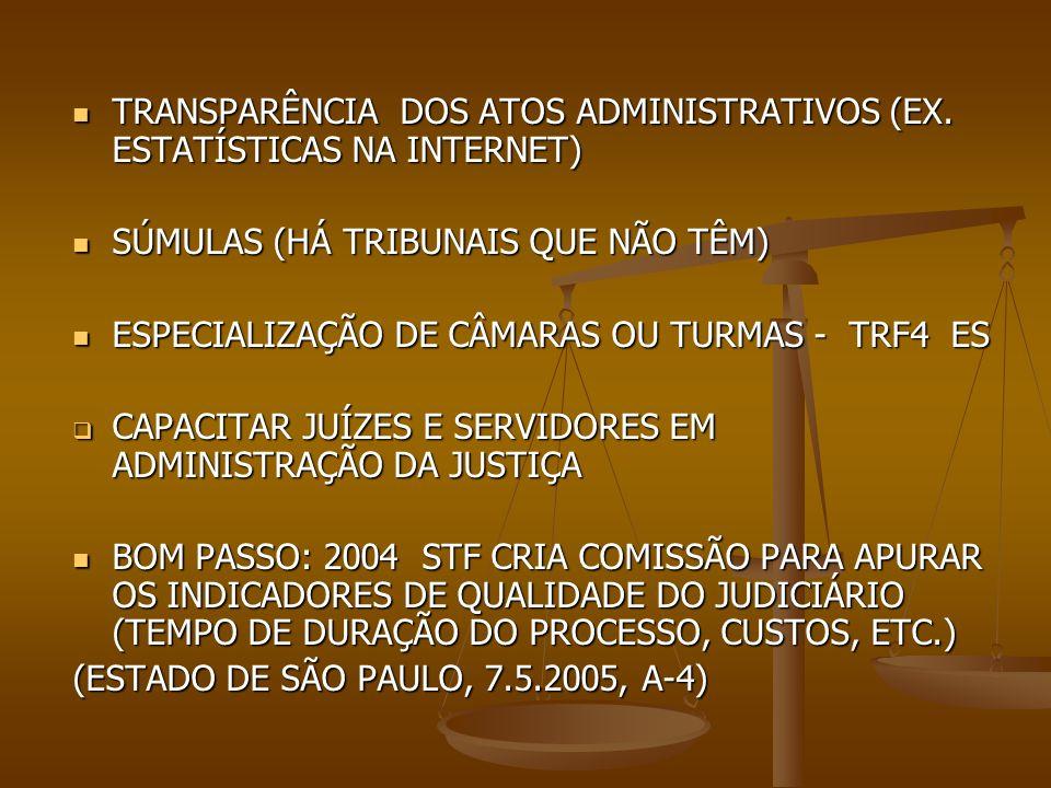 TRANSPARÊNCIA DOS ATOS ADMINISTRATIVOS (EX. ESTATÍSTICAS NA INTERNET)