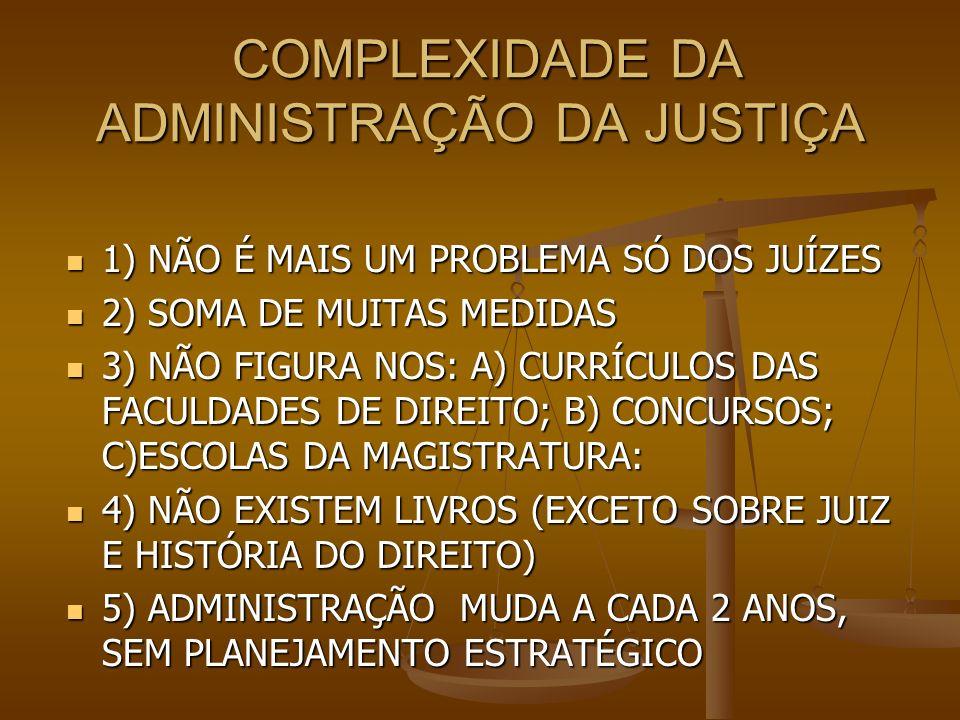 COMPLEXIDADE DA ADMINISTRAÇÃO DA JUSTIÇA