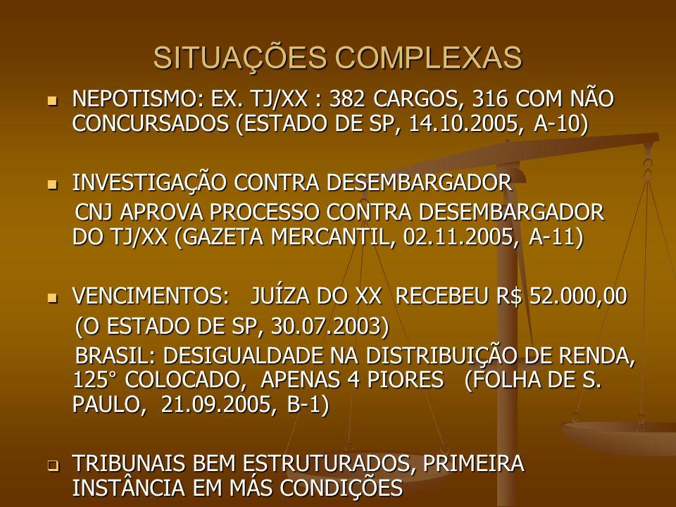 SITUAÇÕES COMPLEXASNEPOTISMO: EX. TJ/XX : 382 CARGOS, 316 COM NÃO CONCURSADOS (ESTADO DE SP, 14.10.2005, A-10)