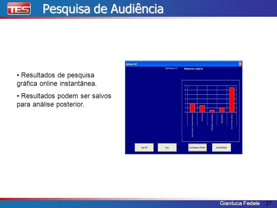 Pesquisa de AudiênciaResultados de pesquisa gráfica online instantânea.