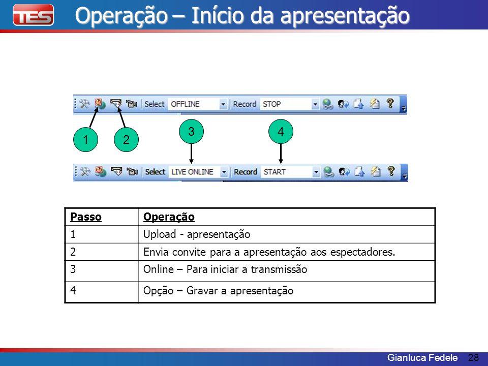 Operação – Início da apresentação