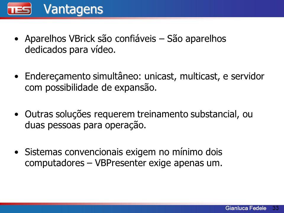 Vantagens Aparelhos VBrick são confiáveis – São aparelhos dedicados para vídeo.