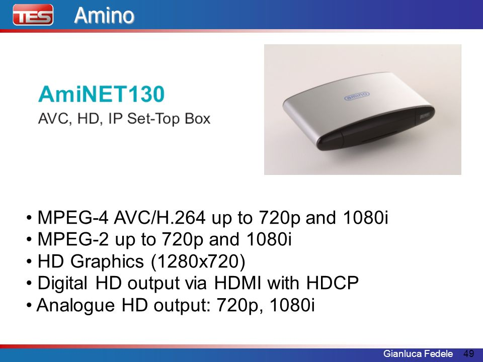 Amino MPEG-4 AVC/H.264 up to 720p and 1080i