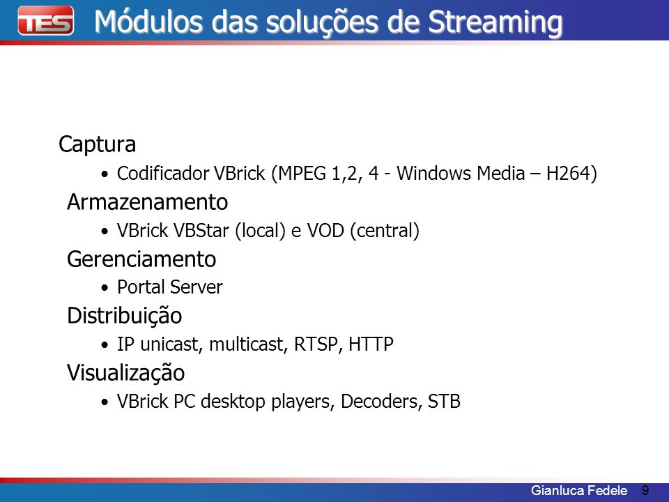 Módulos das soluções de Streaming