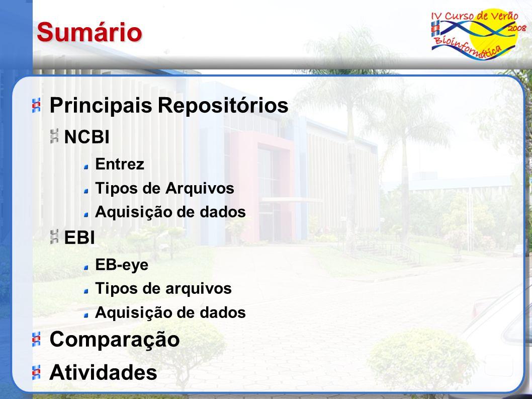 Sumário Principais Repositórios Comparação Atividades NCBI EBI Entrez