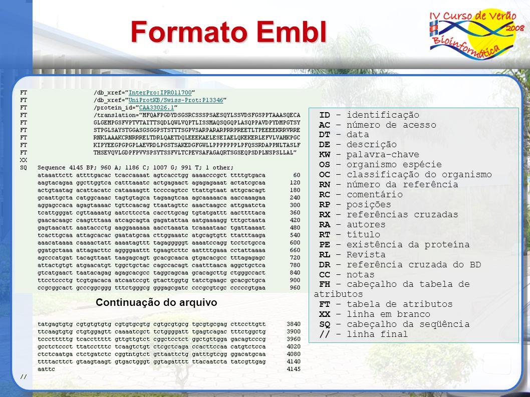 Formato Embl Continuação do arquivo ID - identificação