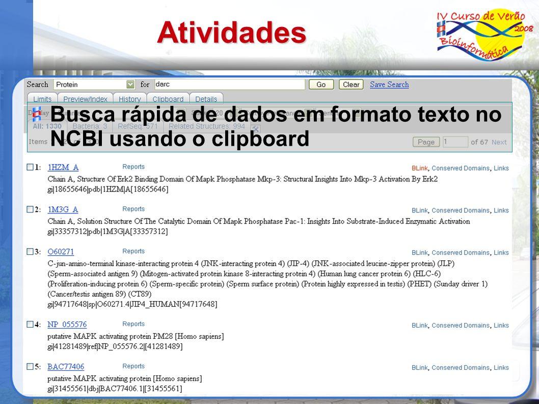 Atividades Busca rápida de dados em formato texto no NCBI usando o clipboard