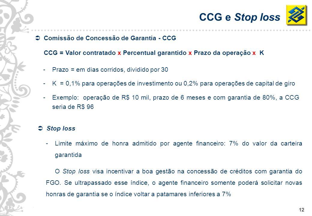 CCG e Stop loss Comissão de Concessão de Garantia - CCG