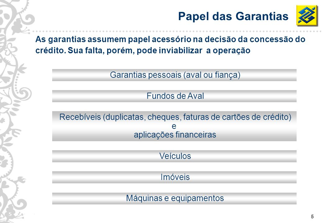 Papel das Garantias As garantias assumem papel acessório na decisão da concessão do crédito. Sua falta, porém, pode inviabilizar a operação.