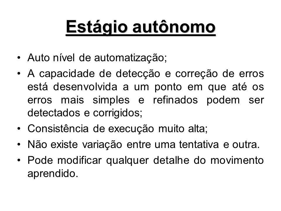 Estágio autônomo Auto nível de automatização;