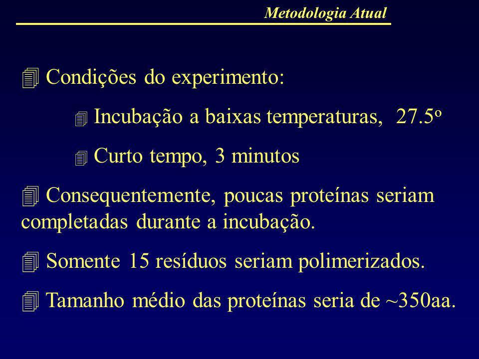  Condições do experimento:  Incubação a baixas temperaturas, 27.5o