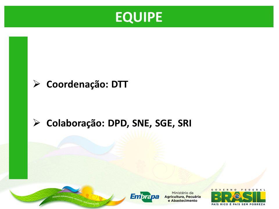 EQUIPE Coordenação: DTT Colaboração: DPD, SNE, SGE, SRI