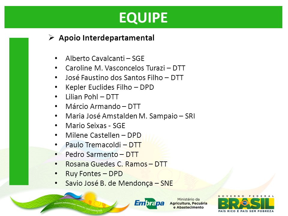 EQUIPE Apoio Interdepartamental Alberto Cavalcanti – SGE
