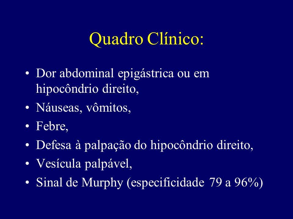 Quadro Clínico: Dor abdominal epigástrica ou em hipocôndrio direito,