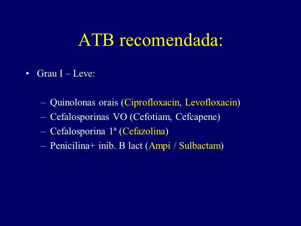 ATB recomendada: Grau I – Leve: