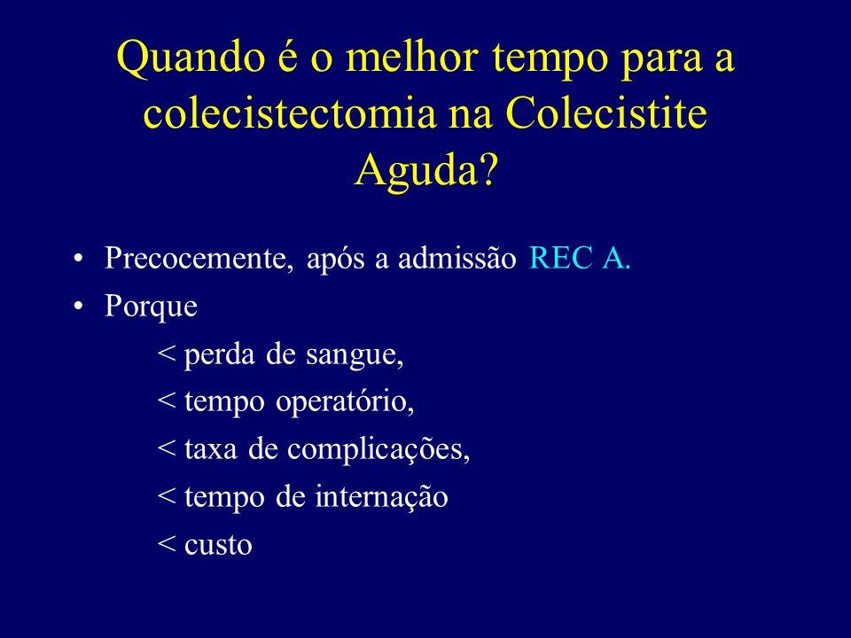 Quando é o melhor tempo para a colecistectomia na Colecistite Aguda