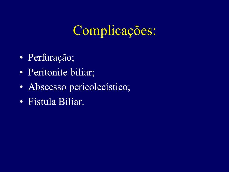 Complicações: Perfuração; Peritonite biliar; Abscesso pericolecístico;