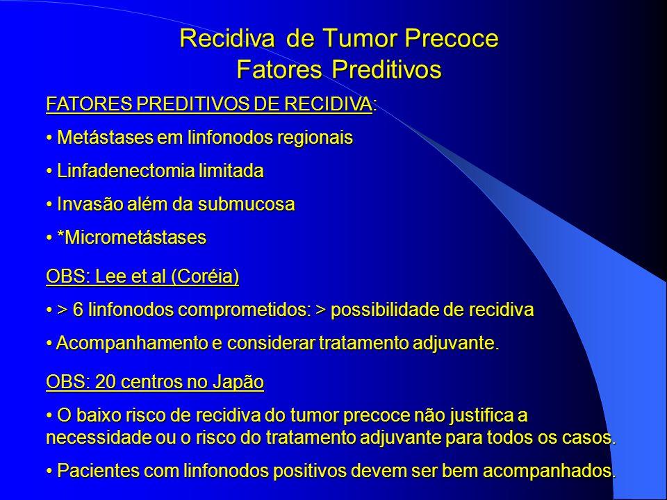Recidiva de Tumor Precoce Fatores Preditivos