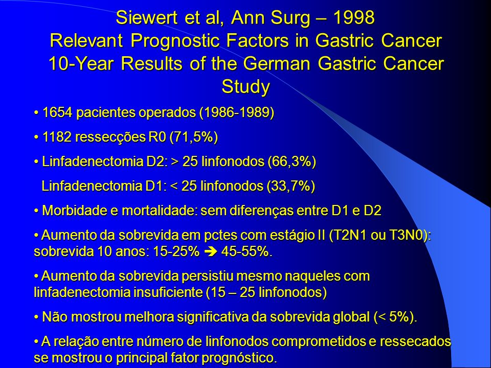 Siewert et al, Ann Surg – 1998 Relevant Prognostic Factors in Gastric Cancer 10-Year Results of the German Gastric Cancer Study