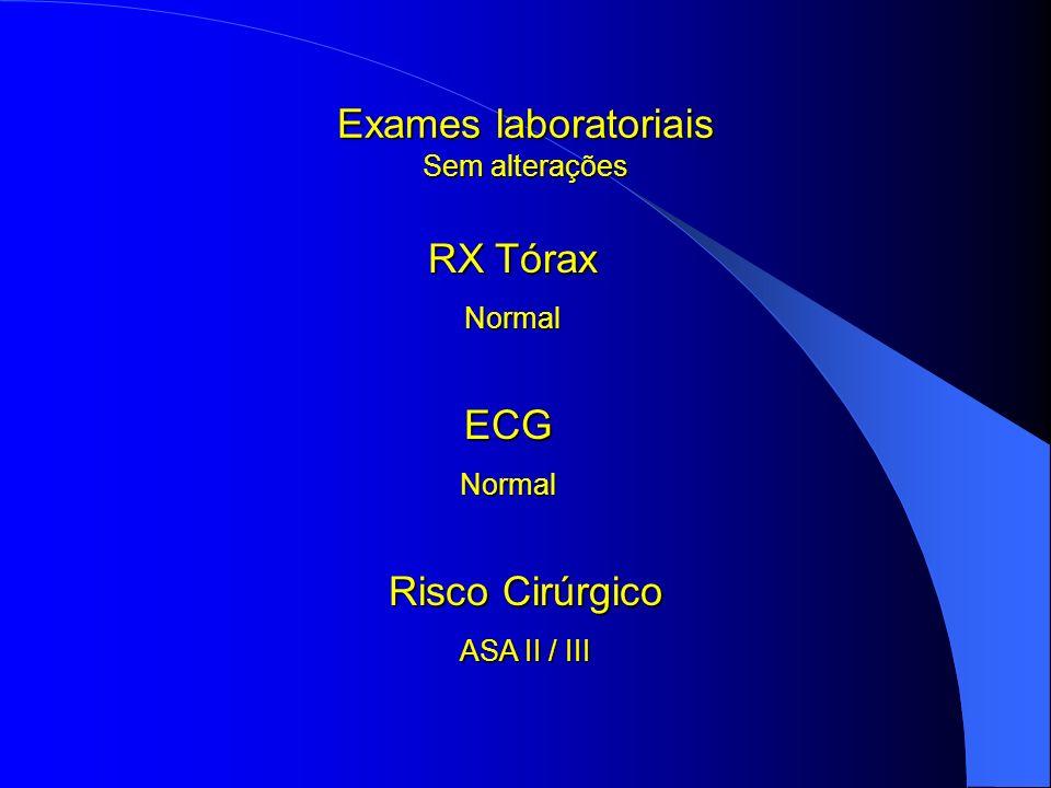 Exames laboratoriais Sem alterações
