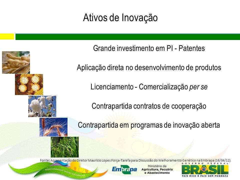 Ativos de Inovação Grande investimento em PI - Patentes