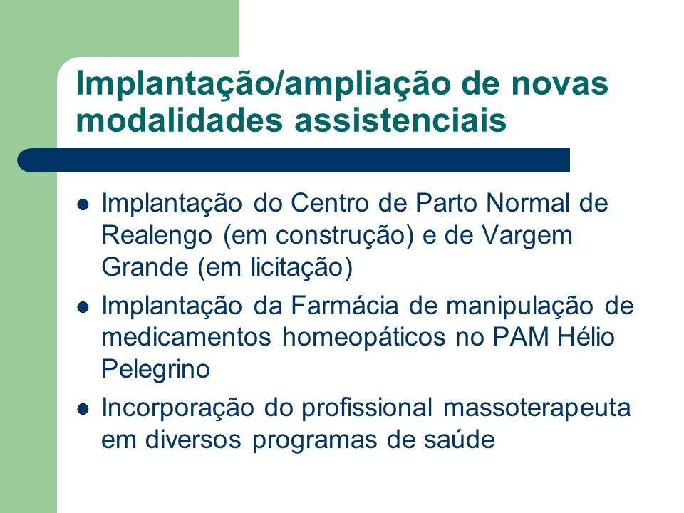 Implantação/ampliação de novas modalidades assistenciais