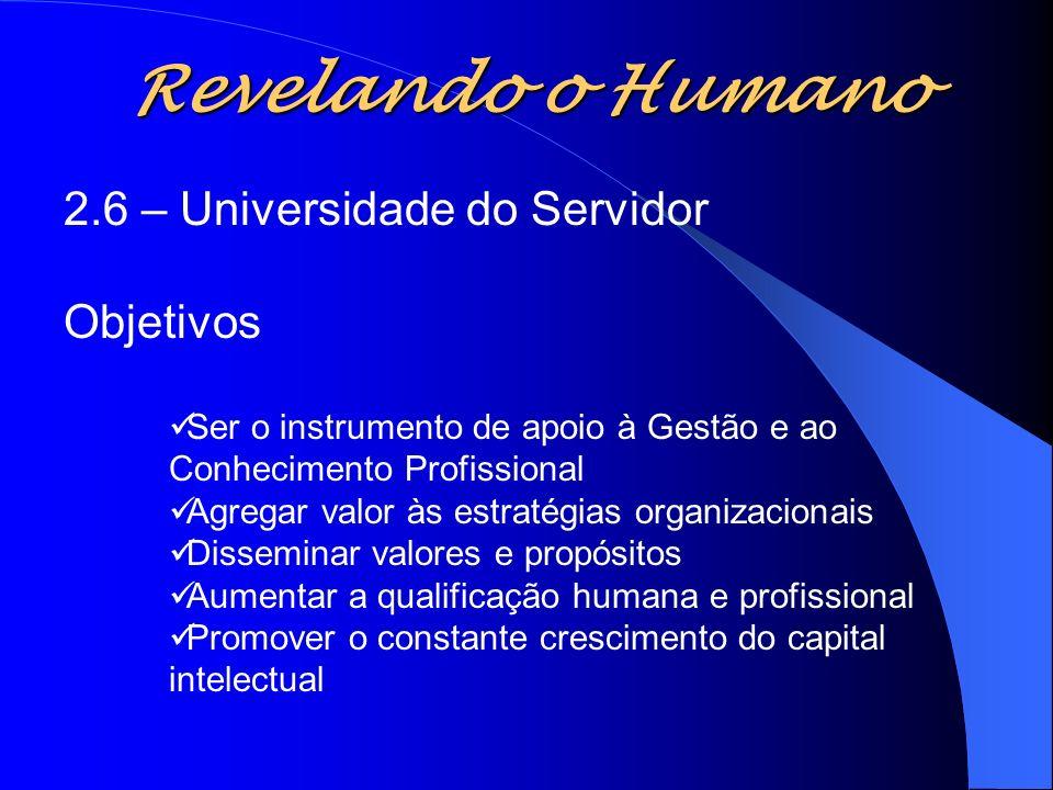 Revelando o Humano 2.6 – Universidade do Servidor Objetivos