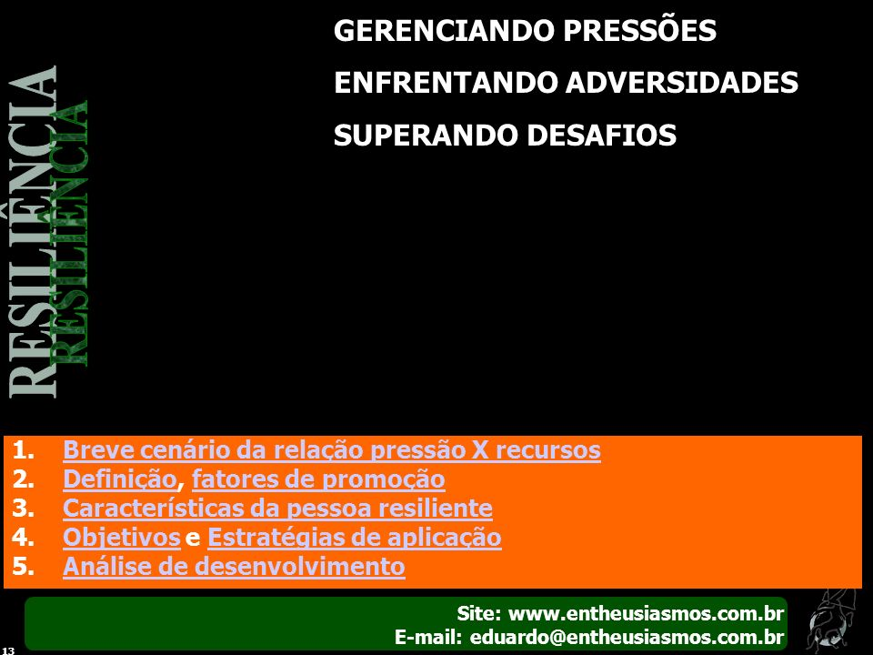 RESILIÊNCIA GERENCIANDO PRESSÕES ENFRENTANDO ADVERSIDADES