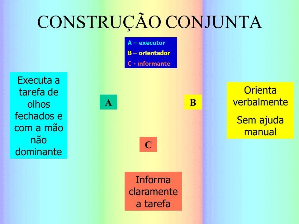 CONSTRUÇÃO CONJUNTA A – executor. B – orientador. C - informante. Executa a tarefa de olhos fechados e com a mão não dominante.