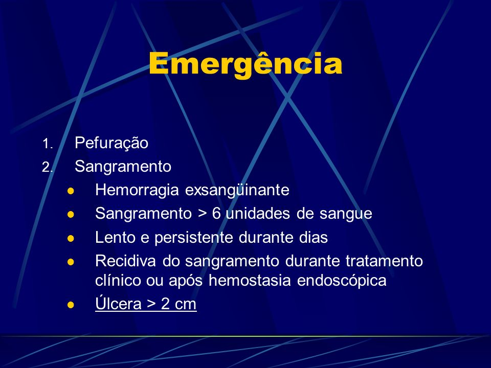 Emergência Pefuração Sangramento Hemorragia exsangüinante