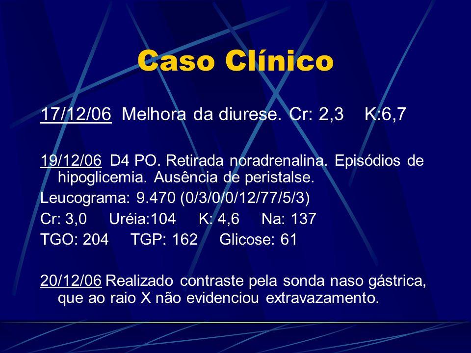 Caso Clínico 17/12/06 Melhora da diurese. Cr: 2,3 K:6,7