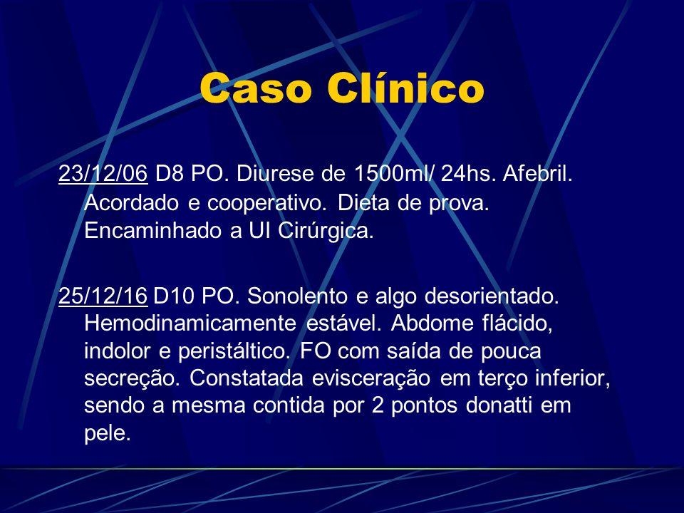 Caso Clínico 23/12/06 D8 PO. Diurese de 1500ml/ 24hs. Afebril. Acordado e cooperativo. Dieta de prova. Encaminhado a UI Cirúrgica.
