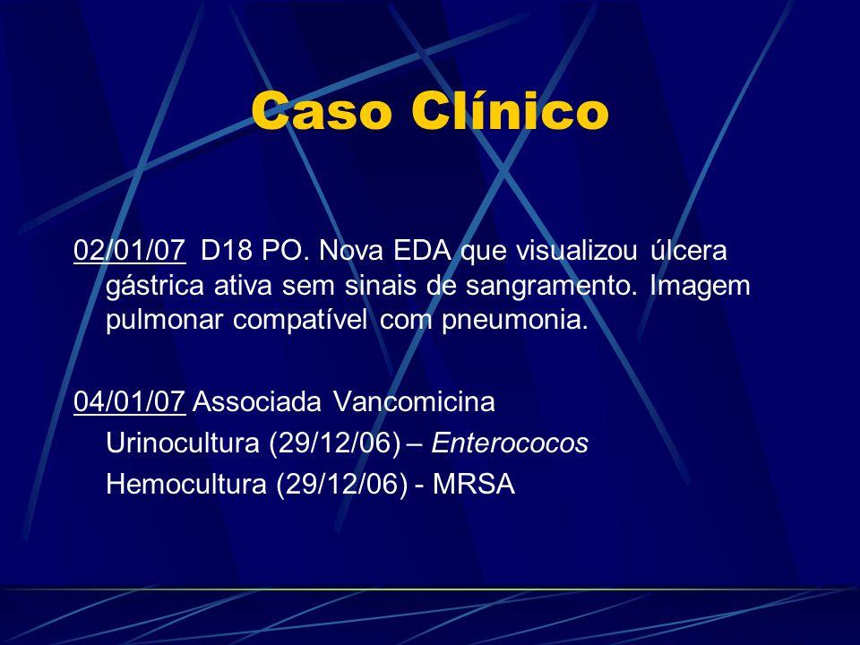 Caso Clínico 02/01/07 D18 PO. Nova EDA que visualizou úlcera gástrica ativa sem sinais de sangramento. Imagem pulmonar compatível com pneumonia.