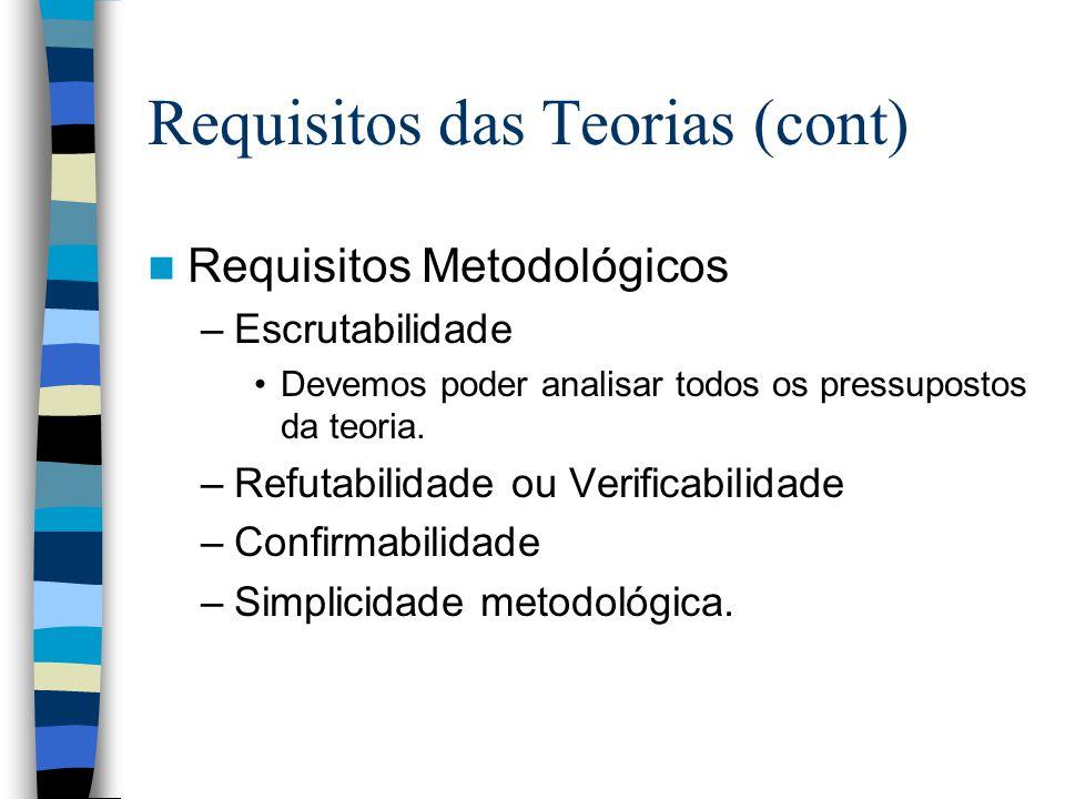 Requisitos das Teorias (cont)