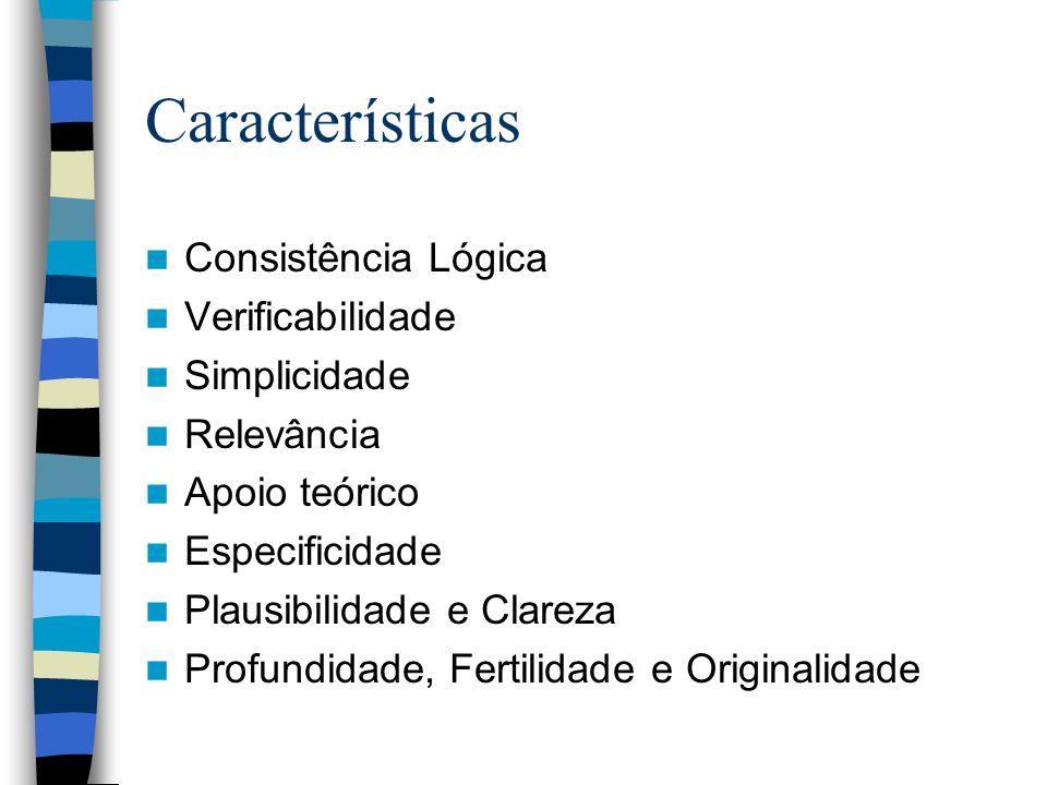 Características Consistência Lógica Verificabilidade Simplicidade