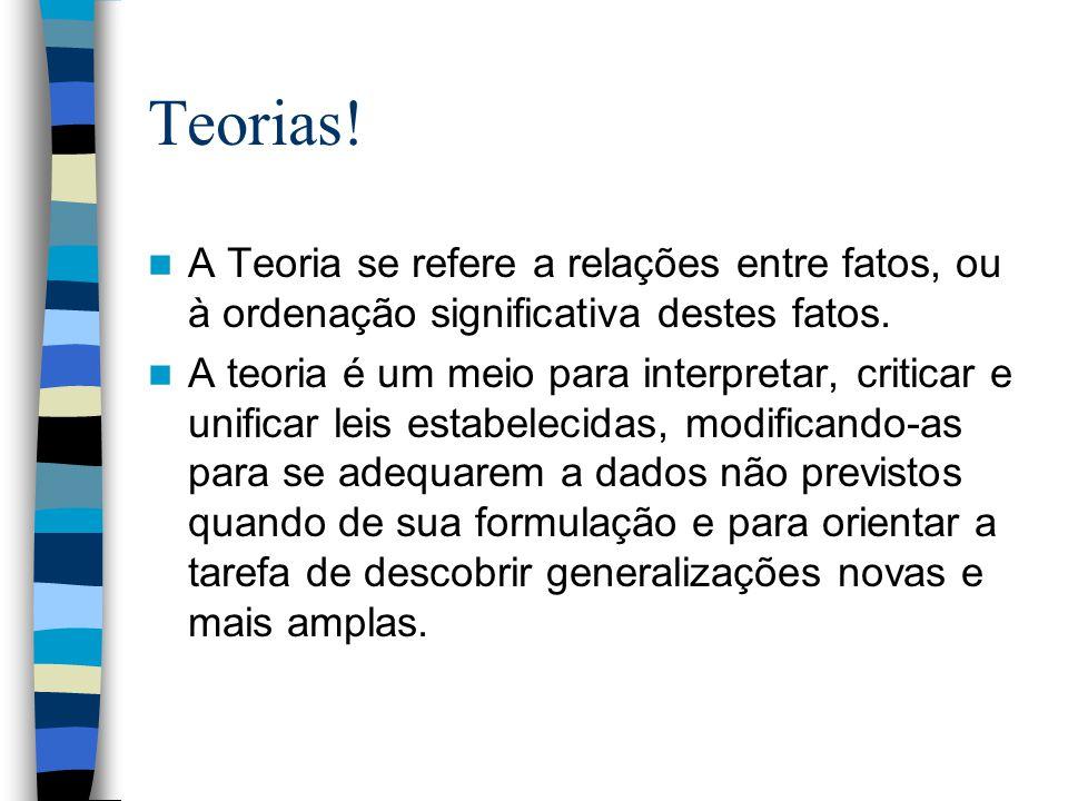 Teorias! A Teoria se refere a relações entre fatos, ou à ordenação significativa destes fatos.