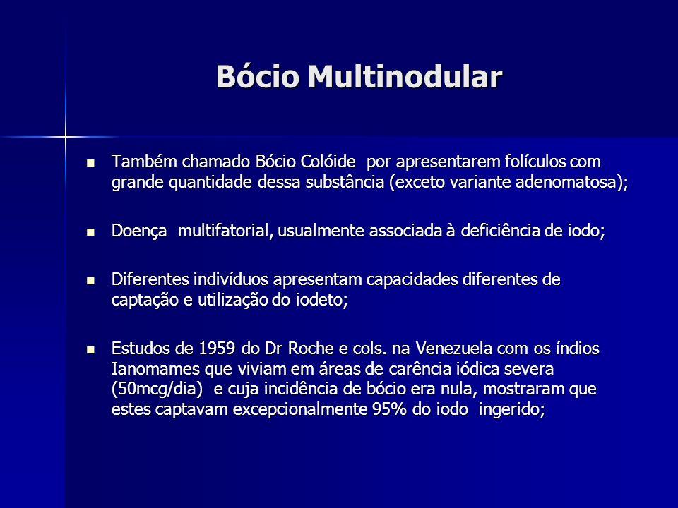 Bócio MultinodularTambém chamado Bócio Colóide por apresentarem folículos com grande quantidade dessa substância (exceto variante adenomatosa);