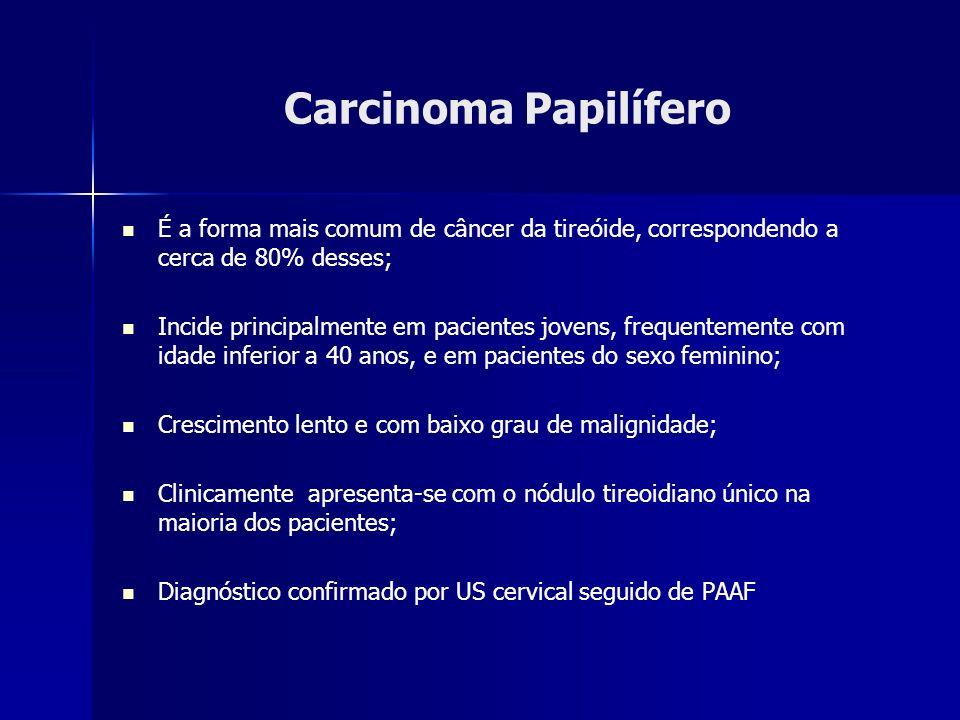 Carcinoma Papilífero É a forma mais comum de câncer da tireóide, correspondendo a cerca de 80% desses;